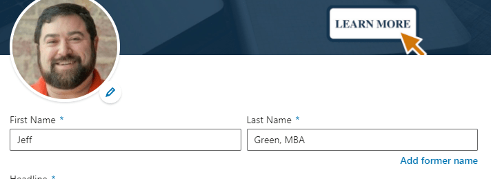 LinkedIn profile link tips name box