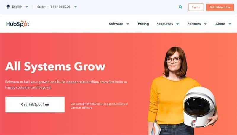 Hubspot landing page example